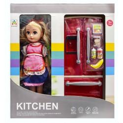 """Детский набор """"кукла с холодильником"""""""