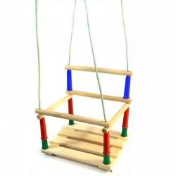 Качели деревянные детские на веревках с пластиковыми вставками.